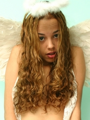 Innocent teen Miranda Mirelli appears as a petite, shy angel, with white wings, sexy white skin, small tits and shaved pussy.