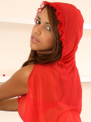 Polliana looking especially sexy as Little Red Riding Hood, wearing a sheer red, hooded cape and super see-thru red camisole showing off clearly her tits and pussy.